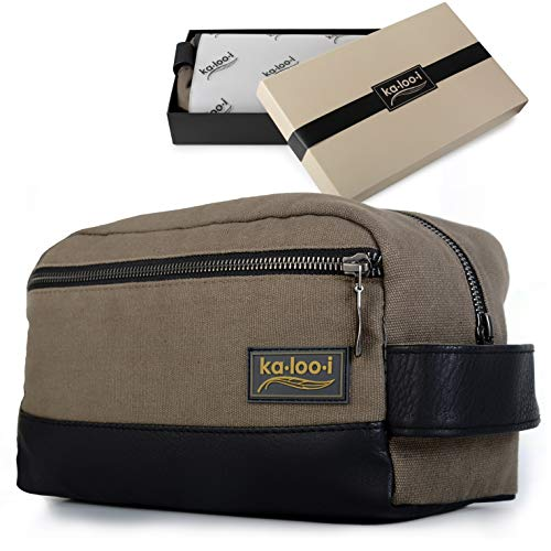 Toiletry Bag for Men – Canvas Dopp Kit for Travel, Gym, Grooming Shaving, Waterproof Lining, 10 x 4.5 x 5.5 , Olive Green Color with Vegan Leather Trim, Comes in Gift Box by Kalooi
