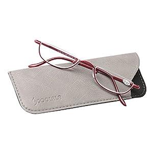 SOOLALA Vintage Designer Alloy Flat Top Half Frame Stylish Slim Reading Glasses, Red, +1.5