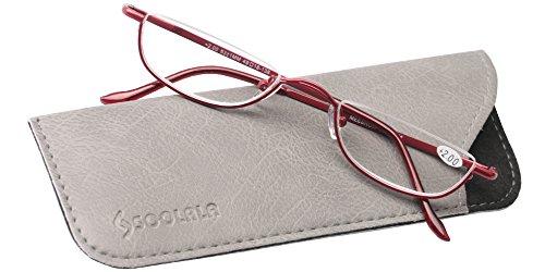 SOOLALA Vintage Designer Alloy Flat Top Half Frame Stylish Slim Reading Glasses, Red, 2.25 by SOOLALA (Image #1)