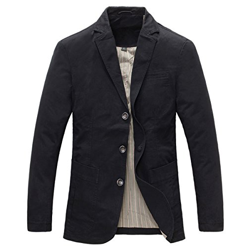 Mens Casual Blazer Slim fit Long Sleeve Jacket Washed Cotton 3-Button Casual Suits Blazer Jackets Black