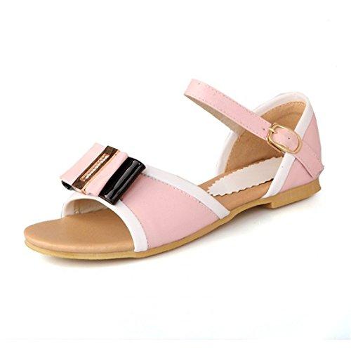 Sandalias Pink Arco Verano Mujer de AIKAKA Estudiante de Tamaño Gran Piso Primavera Zapatos de zq0Hqxw1O