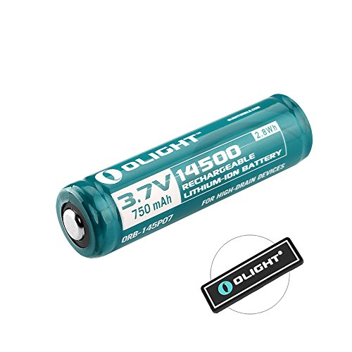 Bundle: Olight 14500 750mah Rechargeable Battery (2mm longer than standard) for S1A / S15R / LD11 /SK68 / Q5 / J5 / EA11 LED Flashlight, 1 Piece with Olight Patch