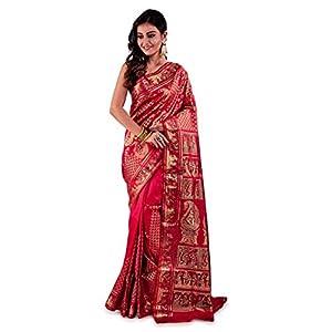 SareesofBengal Women's Baluchari Silk Katan Saree With Blouse Piece (B064NEW_Multicolored)