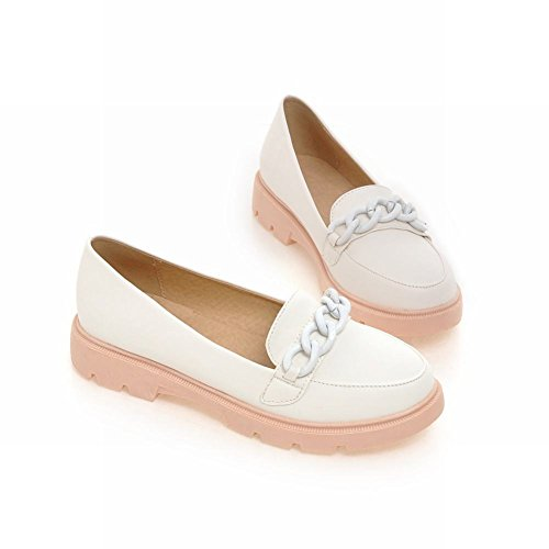 Carolbar womens chains fashion comfort candy colors sweet cute lovely flats shoes White xcCQbxsZ9