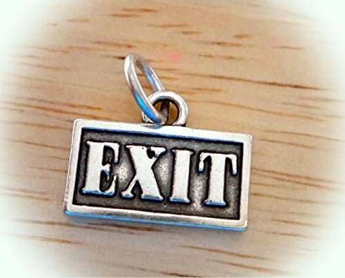 (Sterling Silver 12x16mm says Exit Driving Street Sign Charm Vintage Crafting Pendant Jewelry Making Supplies - DIY for Necklace Bracelet Accessories by CharmingSS)