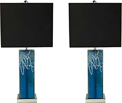 Sheffield Home 25 inch Blue Luster Drizzle Glass Table Lamp Light - Perfect Living Room Decor, Bedside Lamps for Bedroom, Set of 2
