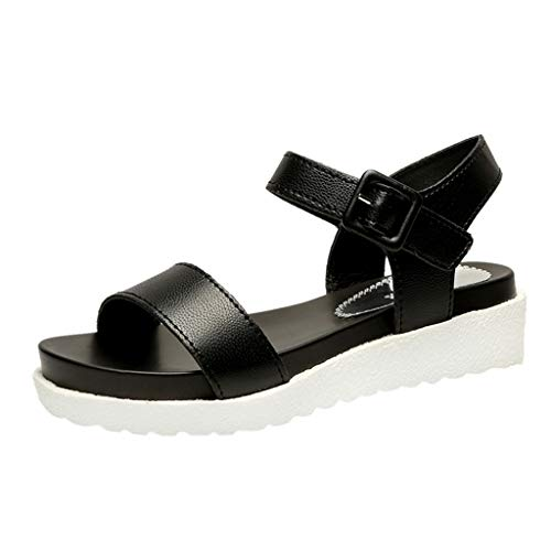 AHAYAKU Women's Summer Buckle Strap Flat Beach Open Toe Breathable Sandals Rome Shoes Black