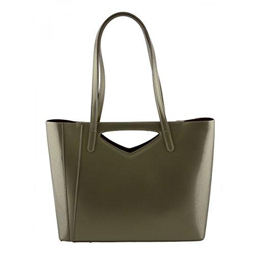 Borsa Shopper Donna In Vera Pelle Colore Oro - Pelletteria Toscana Made In Italy - Borsa Donna