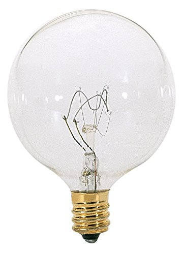 Satco 15G16 1/2 Incandescent Globe Light, 15W E12 G16 1/2, Clear Bulb [Pack of 24]