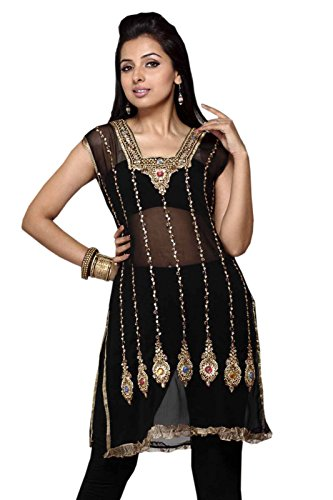 Black Georgette Tunic Multi Color Stone Work Party Dress (xl) by Jayayamala