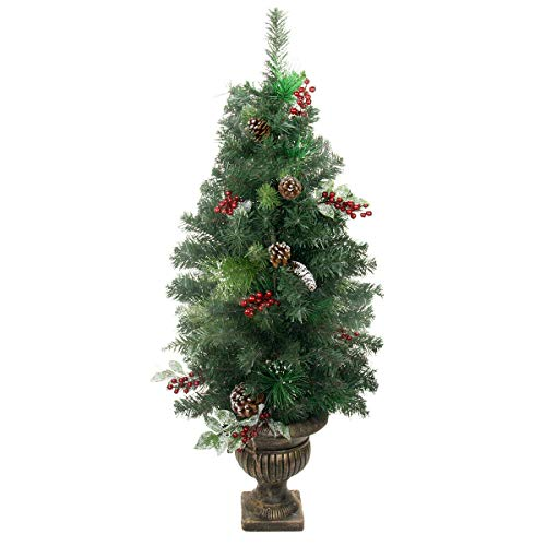 CLESH Christmas Tree Decoration PVC Potted Frosted Pine Cone Ornaments Berry and Twig Tree Room Home Décor Holiday Season Indoor Tree Durable Foldable Metal Stand 4Ft