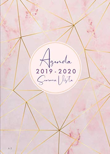 Agenda 2019 2020 Semana Vista A5: Agenda y cuaderno 18 meses, julio 2019 - diciembre 2020, diseño de mármol rosa, color rosa y oro rosa
