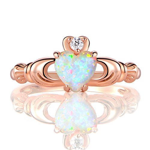 GEMSME Rose Gold Flashed Created 6mm White Heart Opal Cubic Zirconia Crown Ring (10)