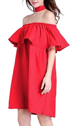 Jaycargogo Femmes Mode Hors Épaule Robe Hérissée Club Couleur Unie Rouge