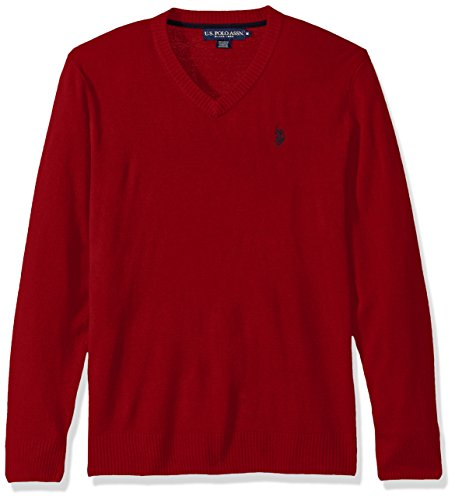 Mens Polo Cashmere Sweater (U.S. Polo Assn. Men's Solid V-Neck Sweater, Apple Cinnamon, X-Large)
