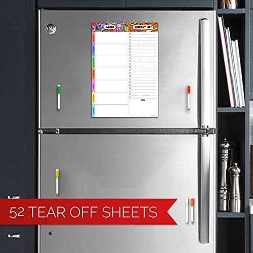 Magnetic Meal Planning Pad   7x10 inch Fridge Notepads for Organized Daily & Weekly Planner   Tear-Off Grocery List Checklist for Convenient Shopping   Notepad with Magnet for Refrigerator or Desk 2