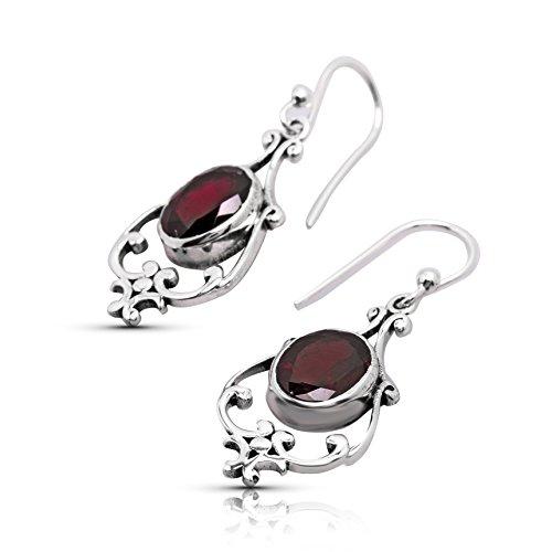 Oval Garnet Stone Ethnic Dangle Earrings 925 Sterling Silver Gipsy Boho (Bohemian Garnet Earrings)