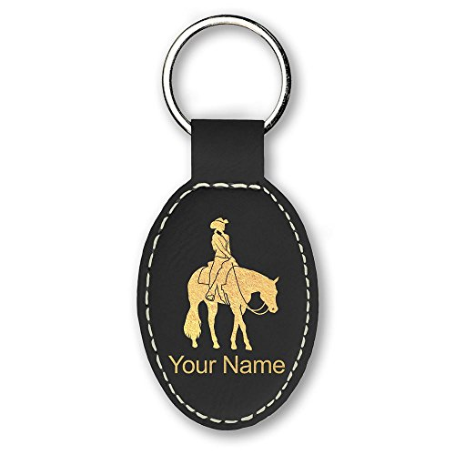 Western Engraving (Oval Keychain, Western Pleasure Horse, Personalized Engraving Included (Black))