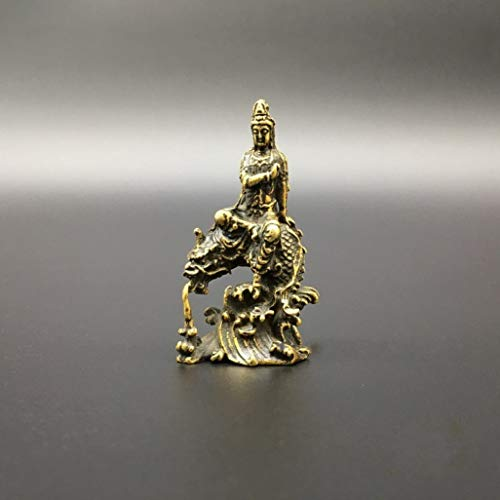 Collection Brass Carved Kwan-yin Bodhisattva Riding Dragon Buddha Statue Exquisite Rustic Art Sculpture