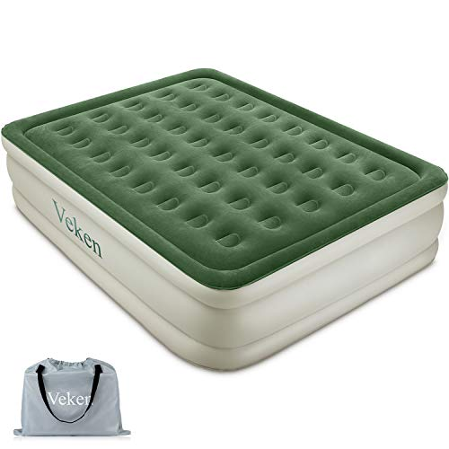 """Veken Queen Air Mattress with Built-in Pump, Inflatable 18"""" Elevated Airbed with Flocked Top, Best Air Mattress for Guests, Family"""