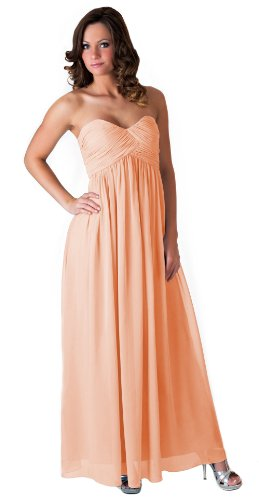 Faship Womens Long Evening Gown Bridesmaid Wedding Party Prom Formal Dress,Peach,18 (Peach Bridesmaids Formal Gown)