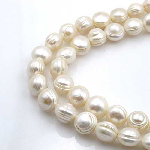 (BRC Beads Fresh Water Pearl Natural Pearl Irregualar Potato Shape White 12mm 15 Inch Approxi 30pcs Cultured Freshwater Pearls )