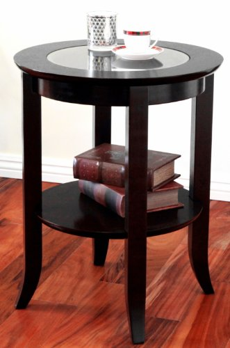 Amazon.com: Frenchi Furniture Wood Genoa End Table, Round Side /Accent Table  , Inset Glass Espresso: Kitchen U0026 Dining