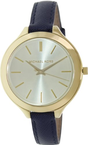 Michael Kors Mid-Size Runway Gold-Tone Dial Blue Leather Ladies Watch - Face Kors Michael Gold With Blue