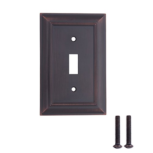 AmazonBasics Single Toggle Light Switch Outlet Wall Plate, Oil Rubbed Bronze, 3-Pack ()