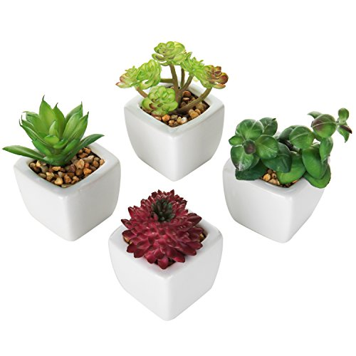 Set of 4 Small Modern Cube-Shaped White Ceramic Planter Pots with Artificial Succulent Plants - MyGift by MyGift (Image #4)