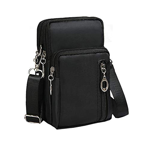 Roomy Three Layers Cross Body Bag Wallet Women Travel Outdoor Cellphone Armband Pouch Wristlet Purse Card Holder for Motorola Moto G6 Play / Z3 / G7 / Samsung Galaxy S10+ / LG V35 / G8 ThinQ (Black) ()