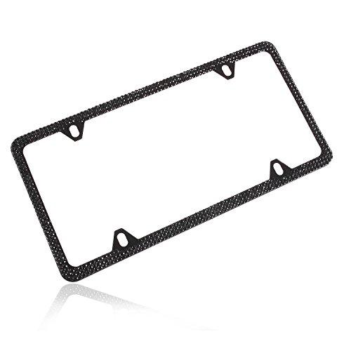 Global_Shopper Classic 4 Holes Black Bling Crystal License Plate Frame Cute Rhinestone Car/Truck/SUV License Plate Holder For Woman,Lady,Girl (1 Frame) ()