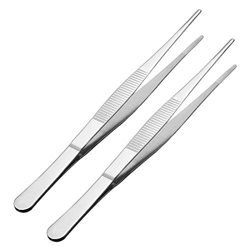 uxcell 2 Pcs 8-Inch Stainless Steel Straight Blunt Tweezers Serrated -