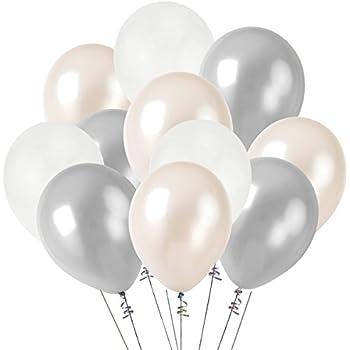 Amazoncom KUMEED 12 White Silver Clear Balloon Latex Balloons