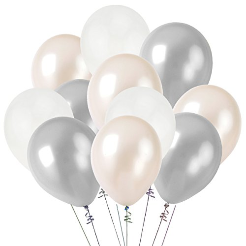 Kumeed 12  White Silver Clear Balloon Latex Balloons Globos Party Birthday Wedding Decoration Balloons Pack Of 100
