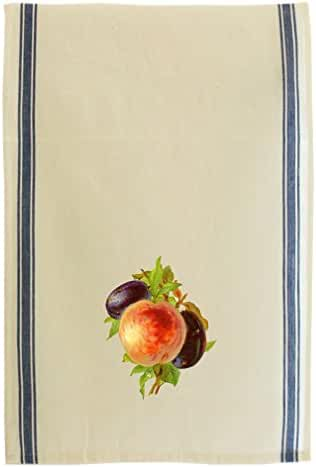 Plums And Peach Vintage Look Retro Stripe Dish Kitchen Towel Blue