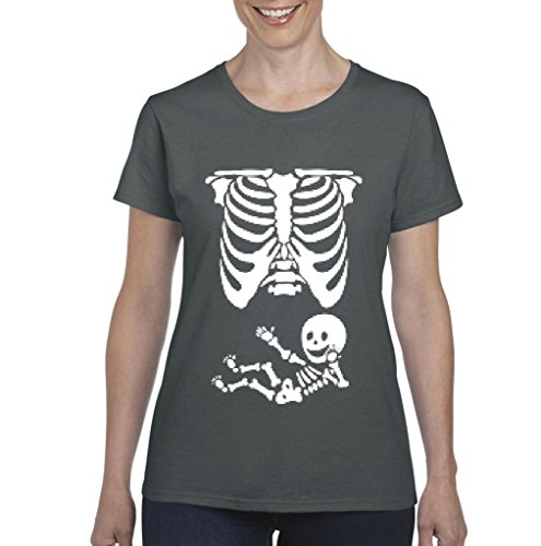 (Xekia Pregnant Skeleton with Baby Halloween Fashion Party People BFF Couples Gifts Women's T-shirt Tee Clothes Large)