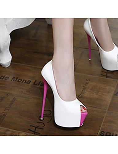 GGX/ Damenschuhe-High Heels-Lässig-PU-Stöckelabsatz-Absätze-Schwarz / Weiß white-us6 / eu36 / uk4 / cn36