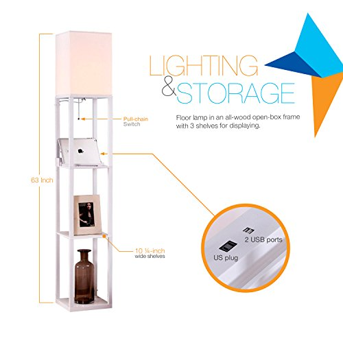Brightech - Maxwell LED USB Shelf Floor Lamp - Mood Lighting for your Living Room and Bedroom - Shade Diffused Light Source with Open-Box Shelves - Orchid White