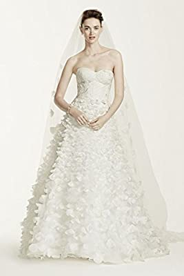 Tulle Oleg Cassini Lace Wedding Dress with 3D Flowers Style CWG660