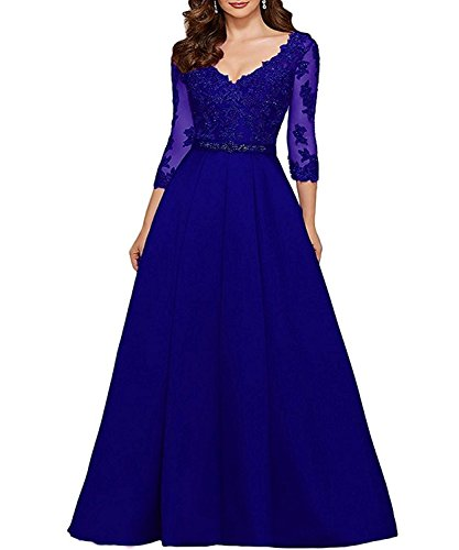 eda9b1af461 liangjinsmkj Women s V-Neck Long Applique Mother of Bride Dress Beaded Prom  Dresses Formal Evening Gown with Sash Royal Blue-a US24W