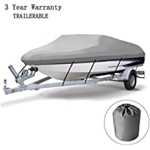 """Cool Bank Heavy Duty 600D Marine Grade Polyester Canvas Trailerable Waterproof Boat Cover, Gray,Fits V-Hull,Tri-Hull, Mooring and Storage Used Boat Cover, 17' - 19' L Up to 96"""" W by"""