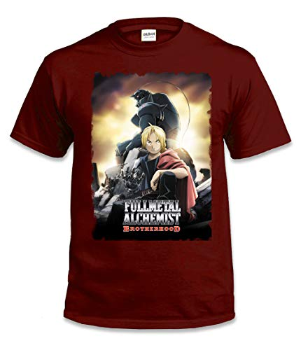 WallScrollPosters Full Metal Alchemist Anime Unisex T-Shirt [Tshirt] FulMetAl-6 Red - Keychain Alchemist Full Metal