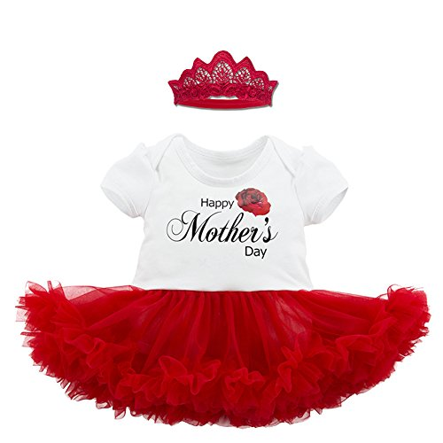 Fairy Baby Happy Baby Girl Mother's Day Outfit Letter Print Tutu Bodysuit Romper Dress Set Size 0-3M - Piece 2 Ruffle Fairy