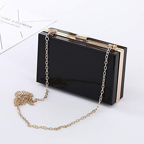 Pochette Sac Wanfor Party Wallet embrayage Purse femmes pour pour Clutch Acrylic élégante à mariage Handbag bandoulière à Noir F66pdw