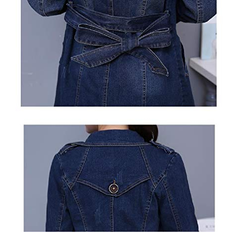 Tops Howme Dust Lapel Size Denim Outwear Open Front Plus Blue Coat Notch Women rz86Ixq5wr