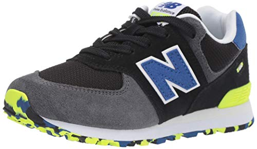 New Balance Boys' Iconic 574 Sneaker Black/Royal Blue 4.5 M US Big Kid by New Balance (Image #1)