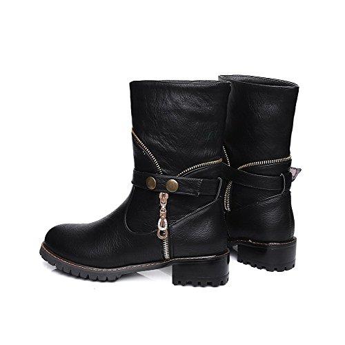 VogueZone009 Damen Niedriger Absatz Eingelegt Ziehen auf Stiefel mit Metallisch Schwarz