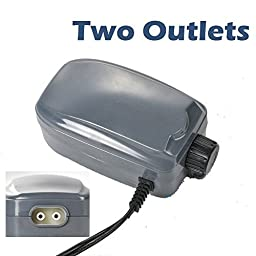 48 GPH Aquarium Air Pump Two Outlets Adjustable Upto 120 Gallon Free Check Valves by Sun Microsystems