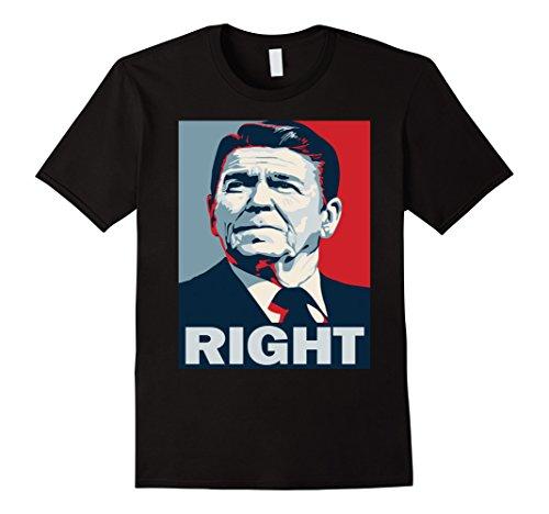 Mens President Ronald Reagan Right Hope Poster T-Shirt Small Black